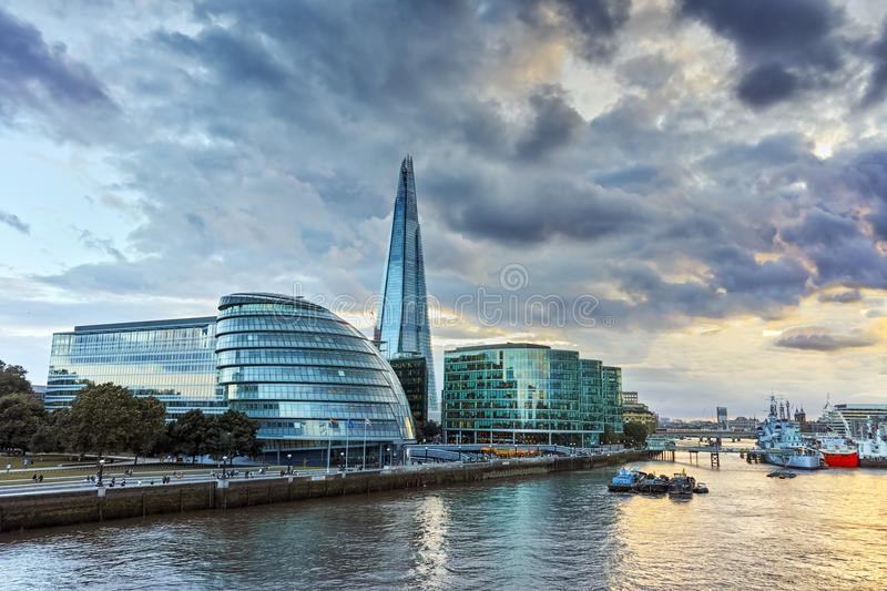 Sunset over London City Hall, England, Great Britain. Amazing sunset over London City Hall, England, Great Britain royalty free stock image