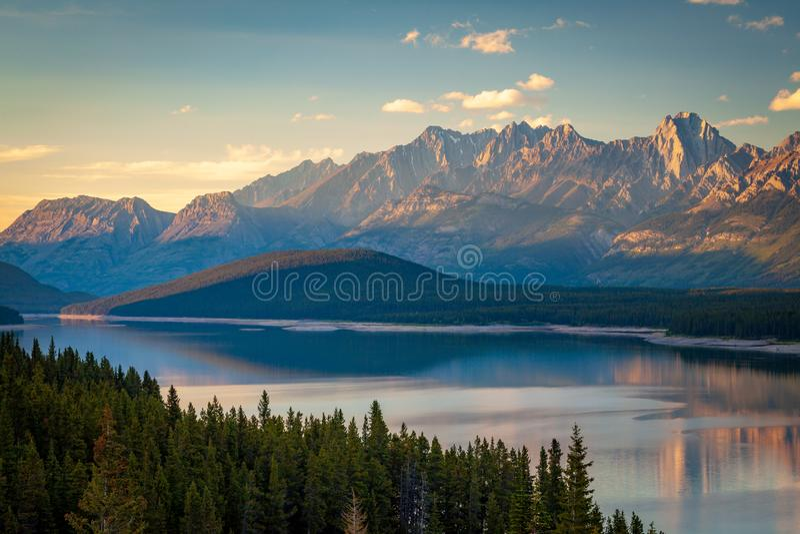 Sunset over Lower Kananaskis Lake in Peter Lougheed Provincial Park, Alberta royalty free stock photography