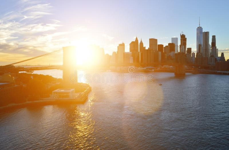 Sunset over a Manhattan royalty free stock photos