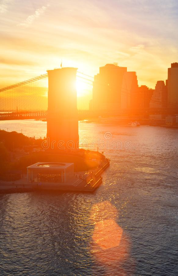 Sunset over a Manhattan stock images
