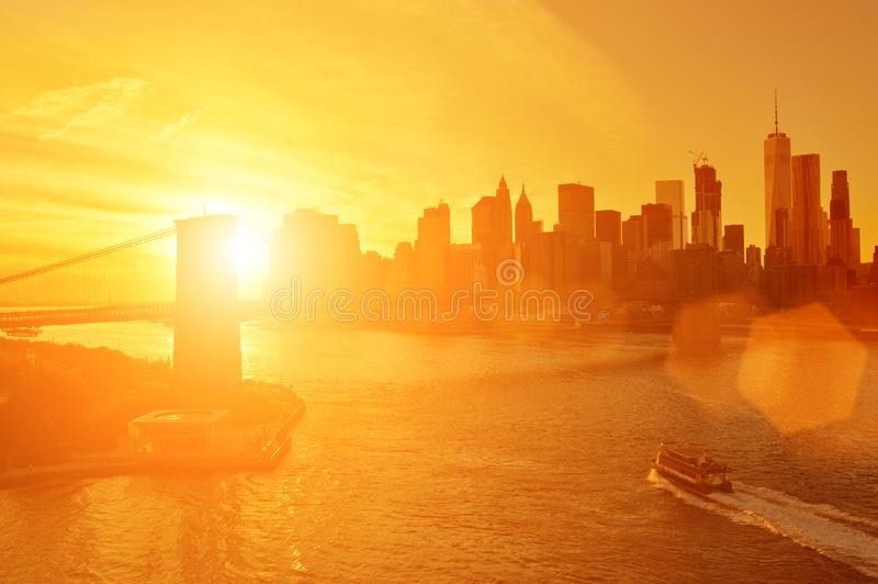 Sunset over a Manhattan stock image