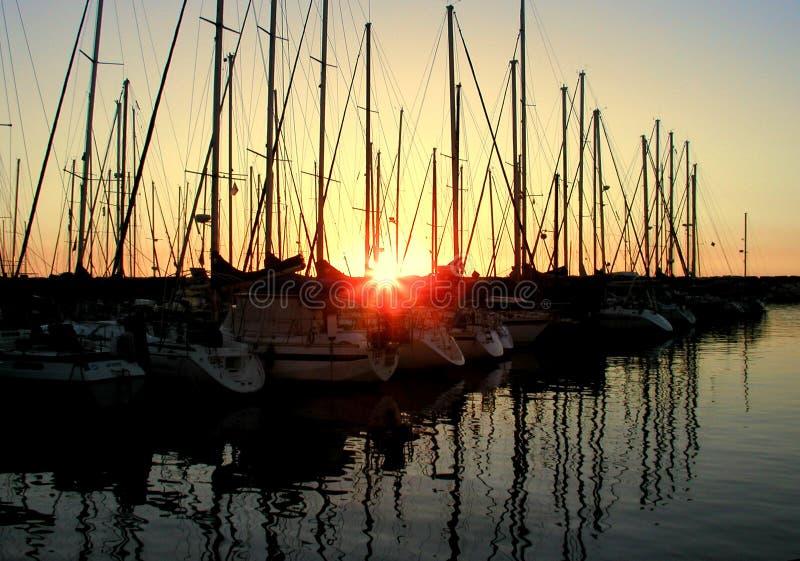 Sunset over the marina royalty free stock image