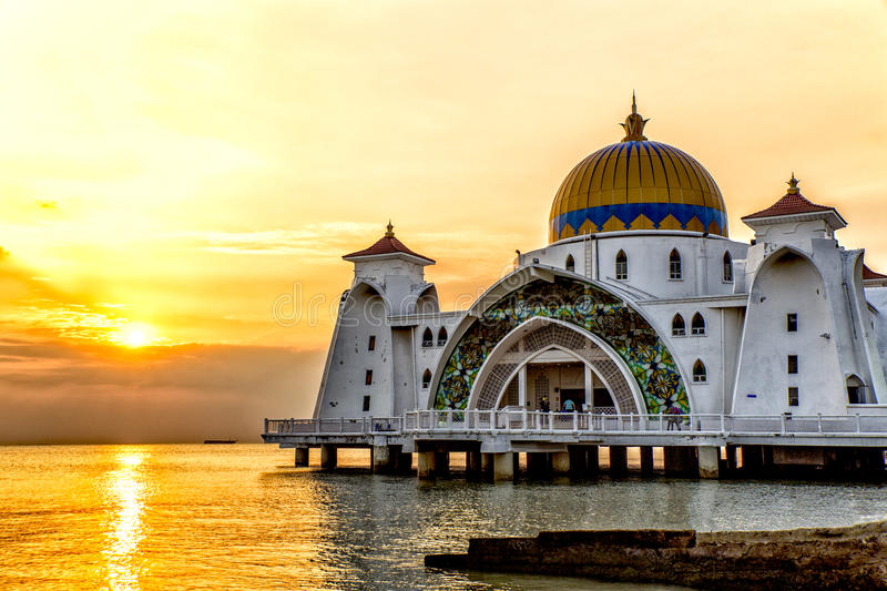 Sunset over Masjid selat Mosque in Malacca Malaysia. Floating Mosque in Malacca, Malaysia stock images