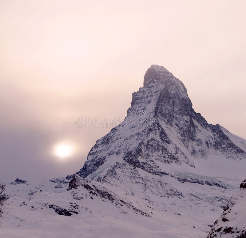 Sunset over Matterhorn. Colorful sunset over Matterhorn mountain, Pennine Alps. Italy and Switzerland royalty free stock images