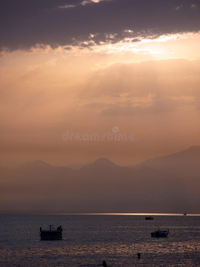 Sunset over Mediterranean sea stock photography