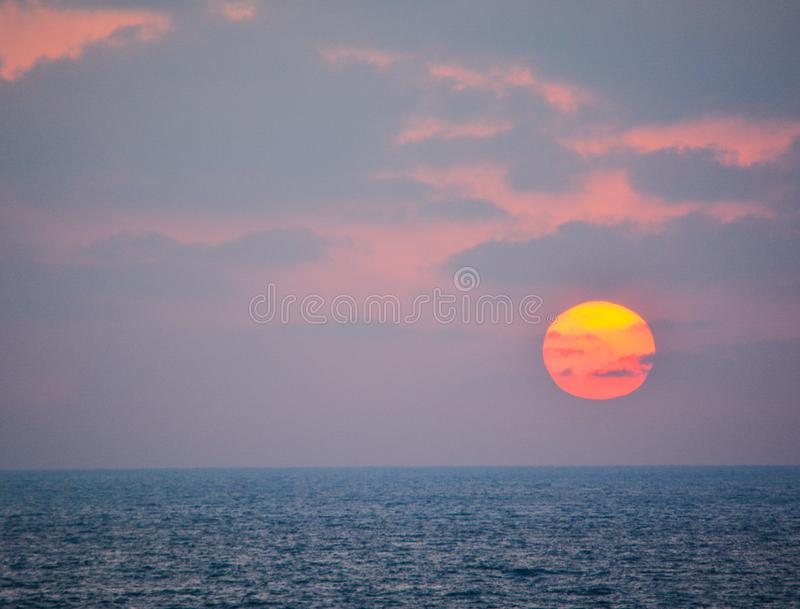 Sunset over the Mediterranean Sea at Ashkelon, Israel.  stock images