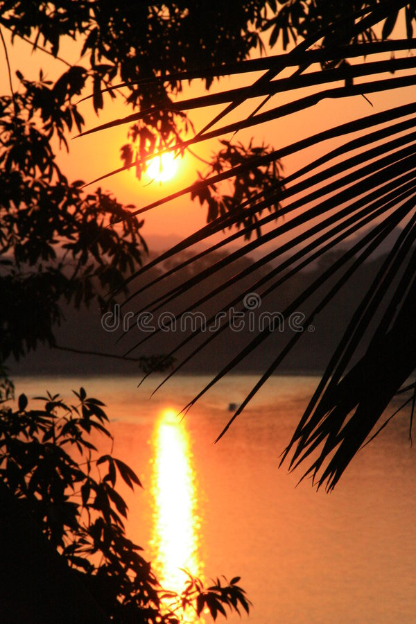 Sunset over Mekong River stock images