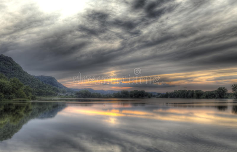 Download Sunset Over The Mississippi HDR Stock Photography - Image: 10316742