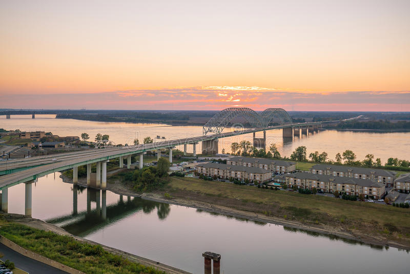 Sunset over the Mississippi River royalty free stock photo