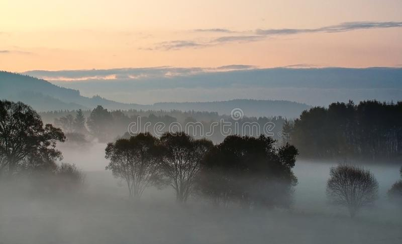 Sunset over misty landscape with forest and meadow royalty free stock photo