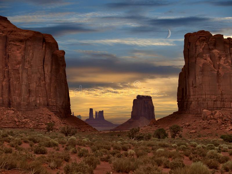 Sunset over Monument Valley Rock Formations royalty free stock photography