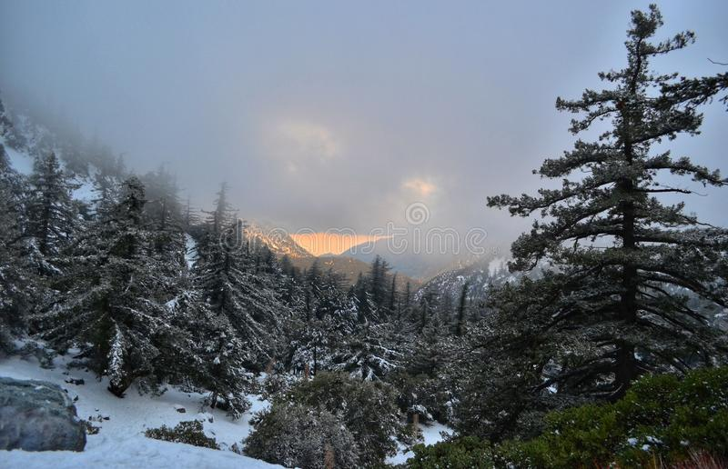 Sunset over Mount Baldy -  Angeles national forest 30 miles from downtown Los Angeles royalty free stock images