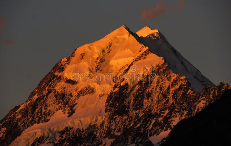 Sunset over Mount Cook. NZ royalty free stock photo