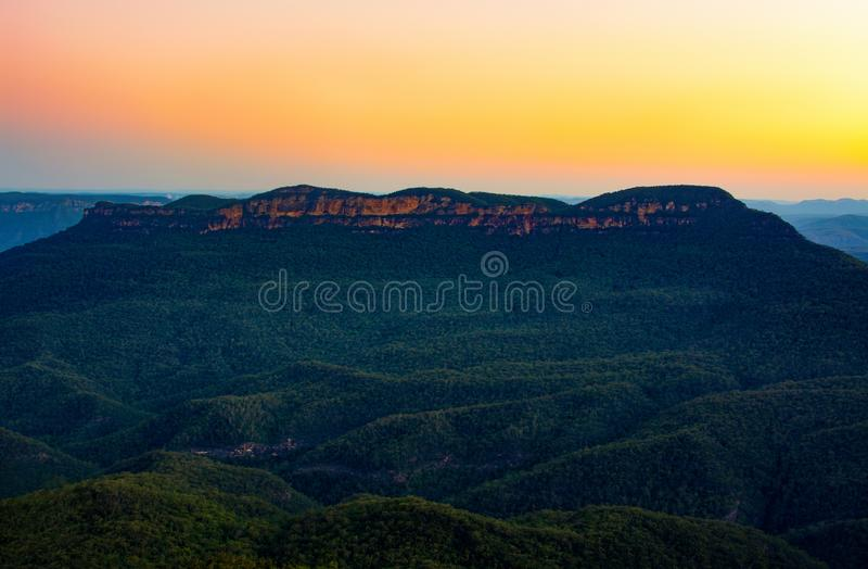 Sunset over Mount Solitary, also known as Korowal, in the Blue Mountains of New South Wales, Australia stock photos