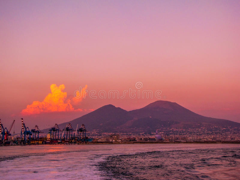 Sunset over the Mount Vesuvius. Beautiful summer sunset over the Mount Vesuvius Monte Vesuvio. In Naples, Italy stock photography