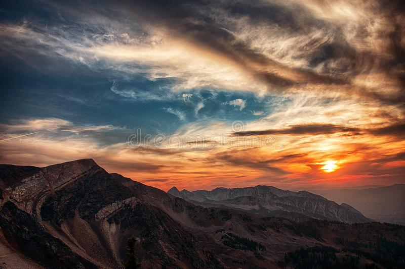 Sunset over mountain royalty free stock photos
