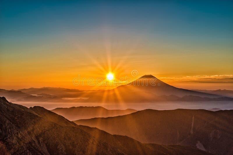 Sunset over mountain valley stock photos