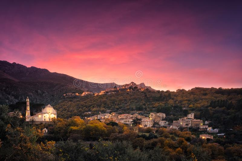 Sunset over mountain villages in Corsica stock images