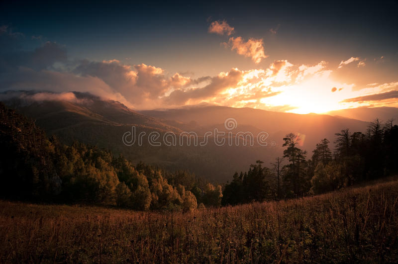 Sunset Over The Mountains Stock Photos