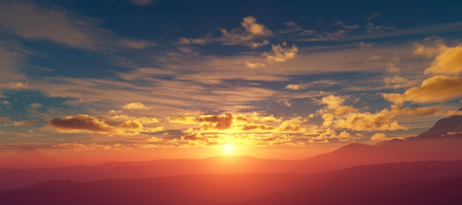 Sunset over the mountains stock illustration