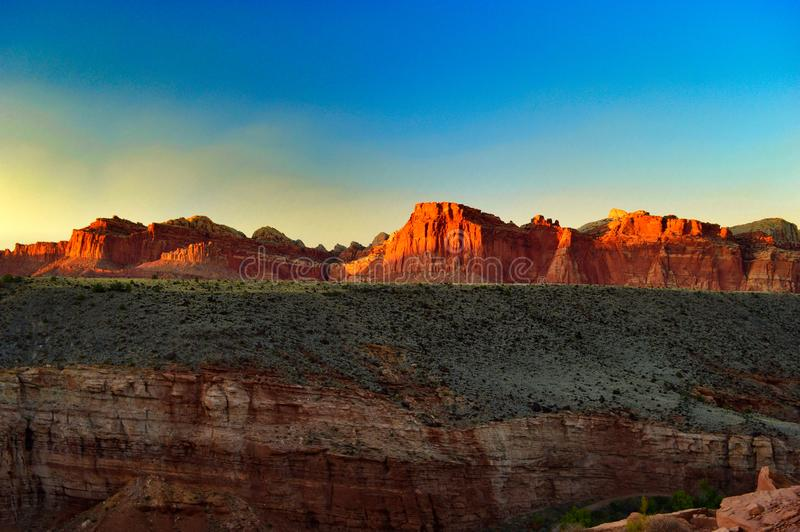 Sunset over mountains at Capitol reef National park royalty free stock image