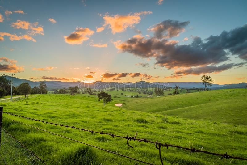 Sunset over the mountains in New South Wales, Cobargo royalty free stock photography