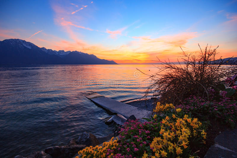 Download Sunset Over A Mountains Range Reflecting In A Lake Stock Image - Image: 83716105