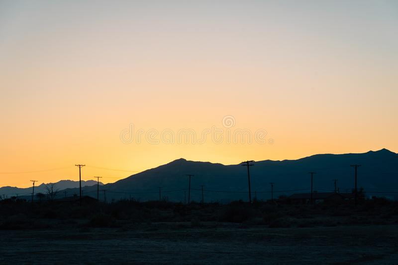 Sunset over mountains in Salton City, California.  royalty free stock photography