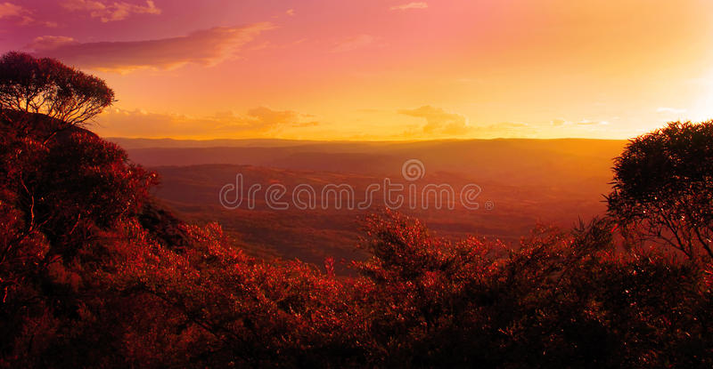 Sunset over the mountains and trees royalty free stock images