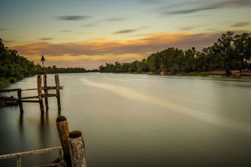 Sunset over Murray river in Mildura, Australia. Long exposure stock photography