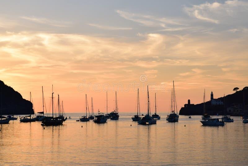 Sunset over natural harbor of Port de Soller on Majorca. Sunset over the natural harbor of Port de Soller on Majorca, Spain royalty free stock image