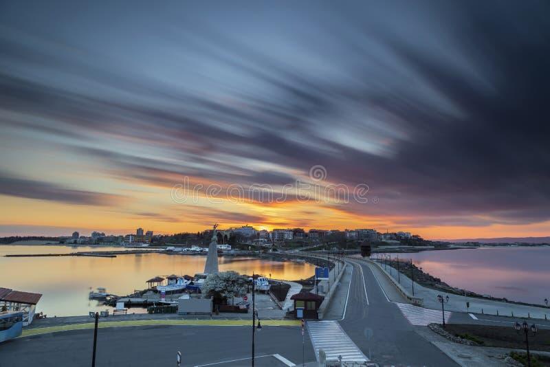 Sunset over the Nesebar, city of Bulgarian Black Sea coast stock images