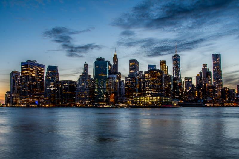 Before sunset over New York Manhattan skyline royalty free stock images