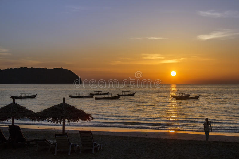 Ngapali Beach Sunset - Myanmar (Burma) stock images