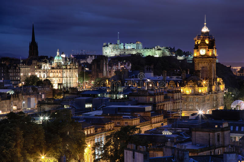 Sunset over night Edinburgh, Scotland stock photography