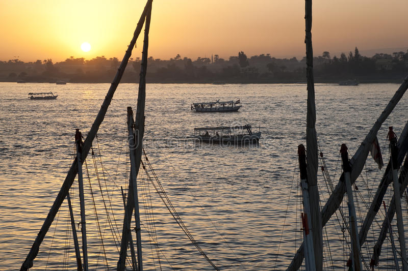 Sunset over Nile stock photos