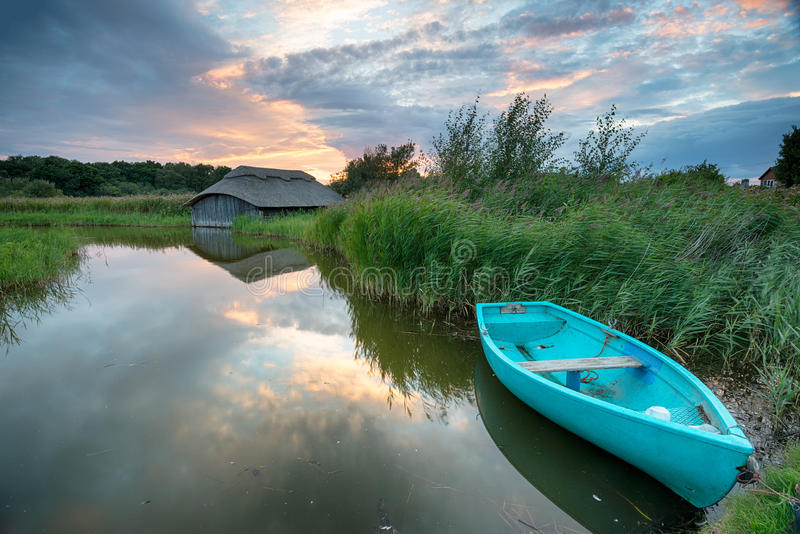 Sunset over the Norfolk Broads stock images