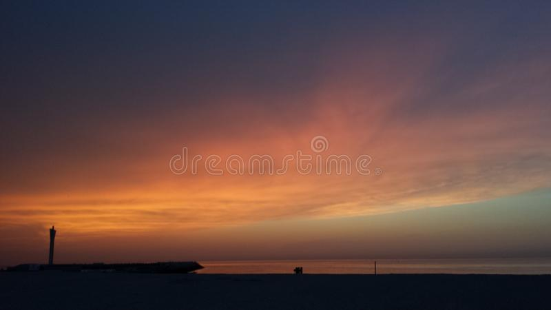 Sunset over the north sea royalty free stock photos