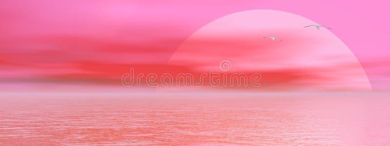 Sunset over ocean stock illustration