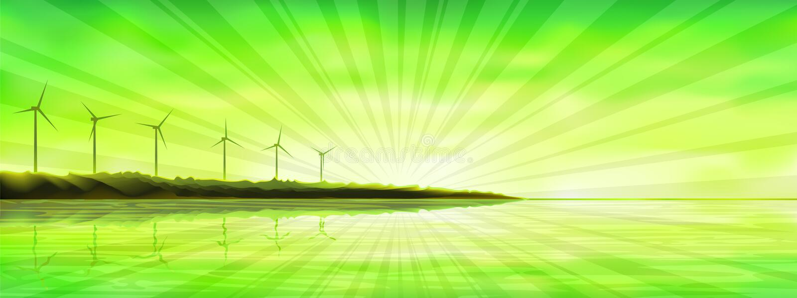 Sunset over an ocean island with wind turbines royalty free illustration