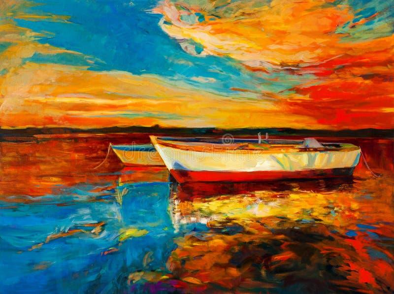 Sunset over ocean vector illustration
