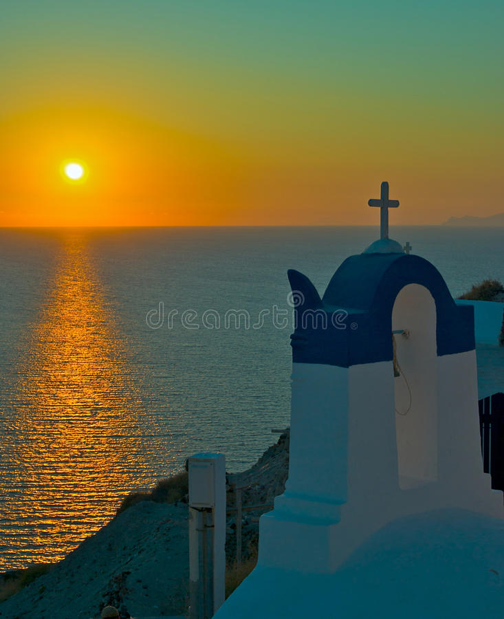 Download Sunset over Oia Santorini stock image. Image of tourism - 10866463