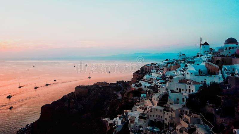 Sunset over Oia stock images
