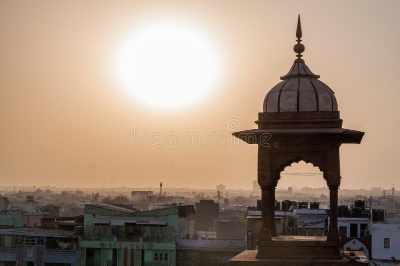Sunset over Old Delhi, Indi royalty free stock photography
