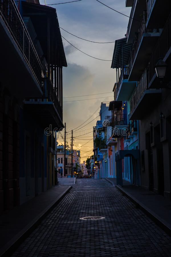 Sunset over old town san juan puerto rico royalty free stock photo