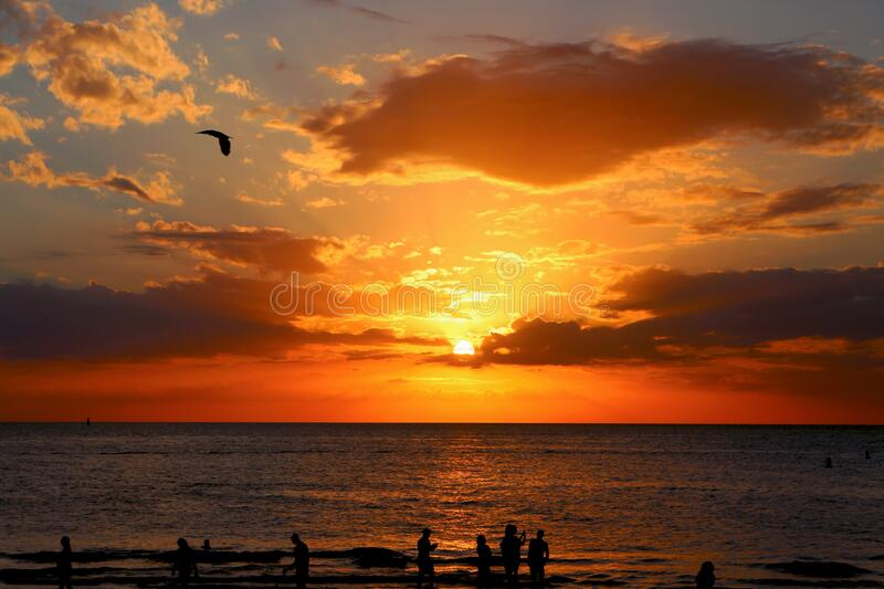 Sunset over open sea royalty free stock photography