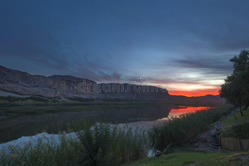 Sunset over the Orange River. Namibia royalty free stock image