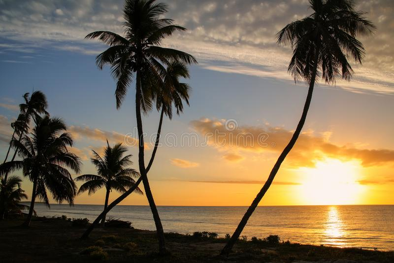 Sunset over Ouvea lagoon on Ouvea Island, Loyalty Islands, New Caledonia. The lagoon was listed as Unesco World Heritage site in 2008 royalty free stock image