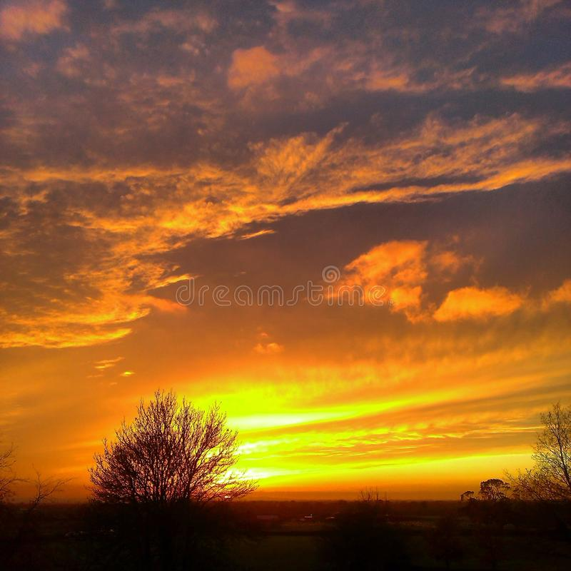 sunset over Oxford stock photography