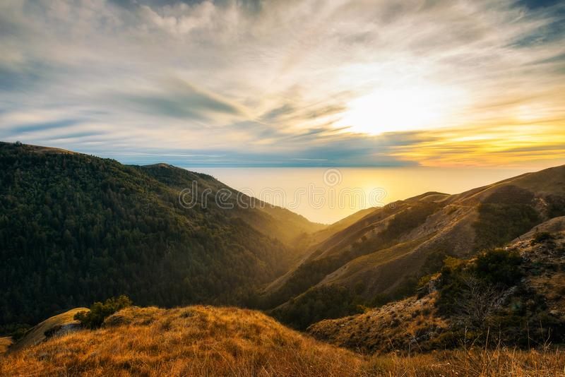 Sunset over the pacific ocean from Santa Lucia Range stock photo
